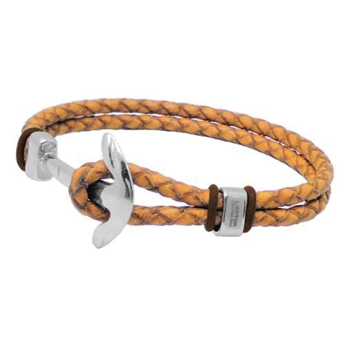 Picture of PULSERA SS 316L, ANCLA, PIEL NATURAL Y CAUCHO