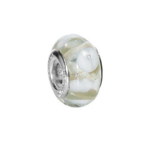 Picture of BEAD ACERO 316 L, CRISTAL MURANO NUBES BLANCO