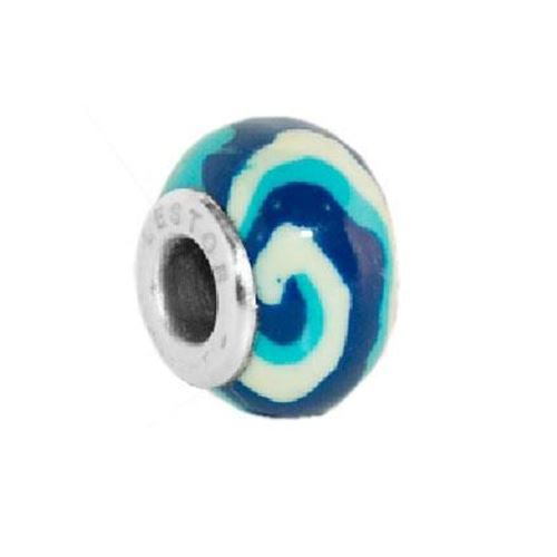 Picture of BEAD ACERO 316 L Y POTTERY RAYAS AZULES