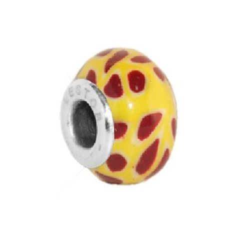 Picture of BEAD ACERO 316 L Y POTTERY AMARILLO MANCHAS BURDEOS