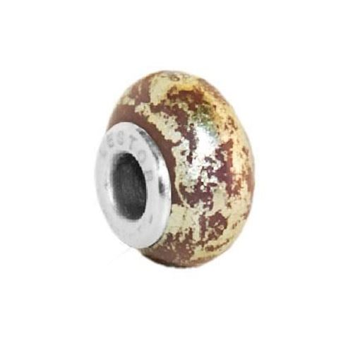 Picture of BEAD ACERO 316 L Y POTTERY MARRON Y ORO