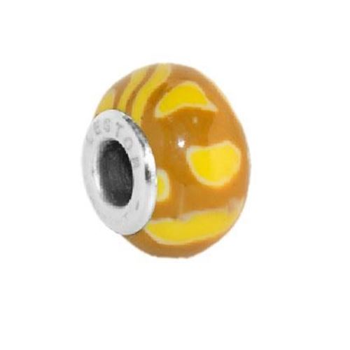 Picture of BEAD ACERO 316 L Y POTTERY MARRON MANCHAS AMARILLO