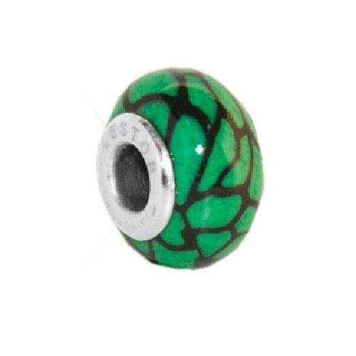 Picture of BEAD ACERO 316 L Y POTTERY NEGRO MANCHAS VERDE