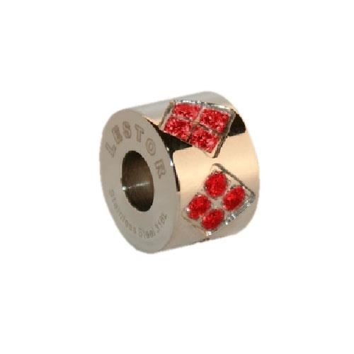 Picture of BEAD ACERO 316 L, CIRCONITA ROJA