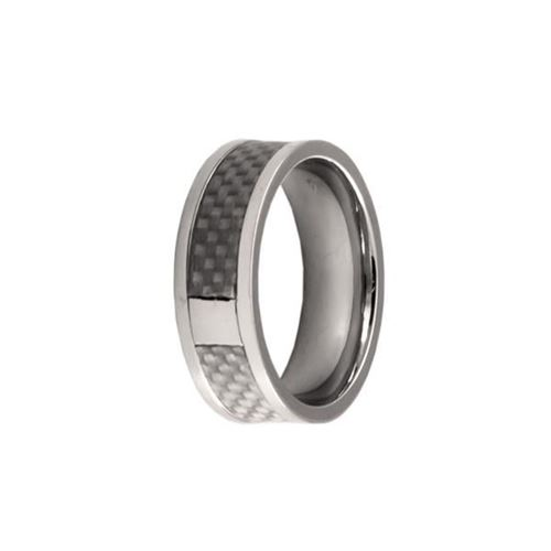 Picture of ANILLO ACERO 316 L,  FIBRA CARBONO PLATA
