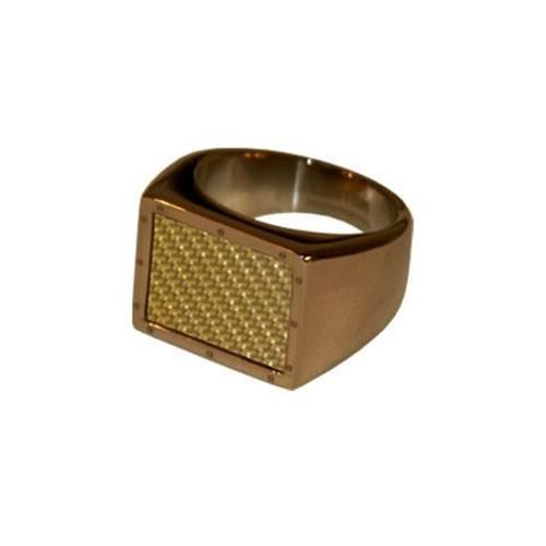 Foto de ANILLO ACERO 316 L, IP CAFE, FIBRA CARBONO GOLD