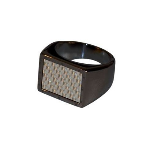 Picture of ANILLO ACERO 316 L, IP NEGRO, FIBRA CARBONO PLATA