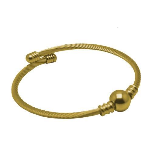 Picture of BRAZALETE CABLE ACERO 316 L, BOLA ACERO, IP GOLD