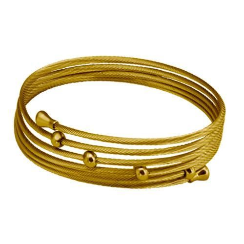 Picture of BRAZALETE CABLES IP GOLD 316 L, BOLAS IP GOLD