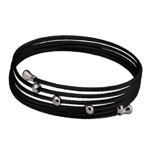 Picture of BRAZALETE CABLES IP NEGRO 316 L, BOLAS ACERO