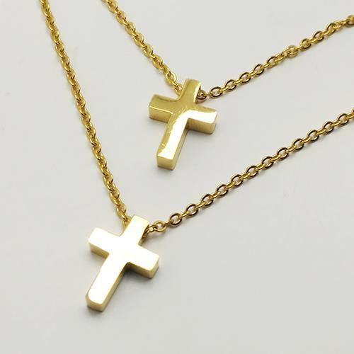Picture of COLLAR SS 316L, DOBLE CRUZ, IP GOLD