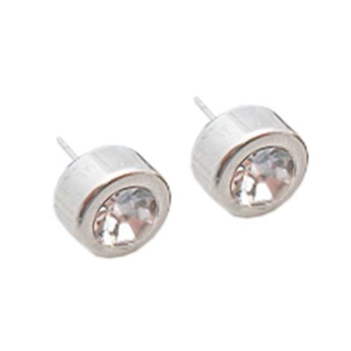 Picture of PENDIENTES SS 316L, CHATON 10 mm CIRCON BLANCA