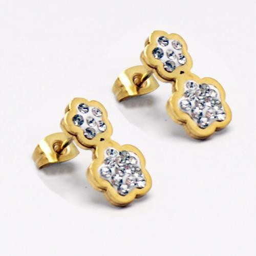 Picture of PENDIENTES SS 316L, IP GOLD, W-EPOXI BLANCA 2 FLORES