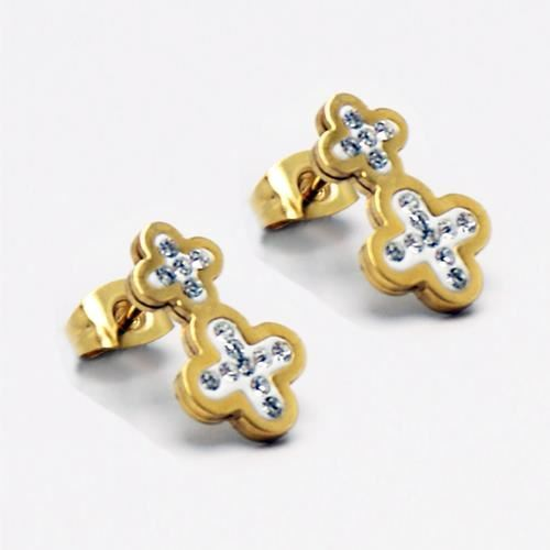 Picture of PENDIENTES SS 316L, IP GOLD, W-EPOXI BLANCA CRUZ