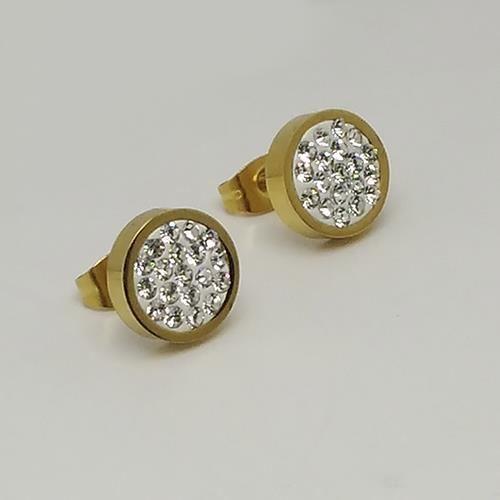 Picture of PENDIENTES SS 316L, IP GOLD, W-EPOXI BLANCA BOTON 10 mm