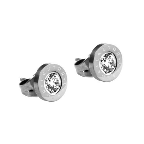 Picture of PENDIENTES SS 316L, CHATON 8 mm CIRCON BLANCA 4 mm