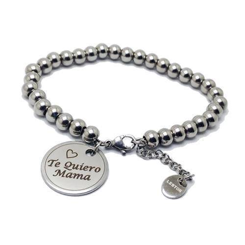 Picture of PULSERA ACERO 316L, BOLAS 6 mm, te quiero mama