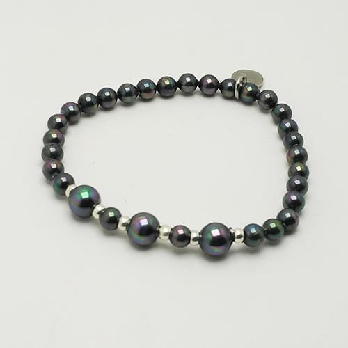 Picture of PULSERA NIÑA SS 316 L, PERLA NEGRA 4,5 mm