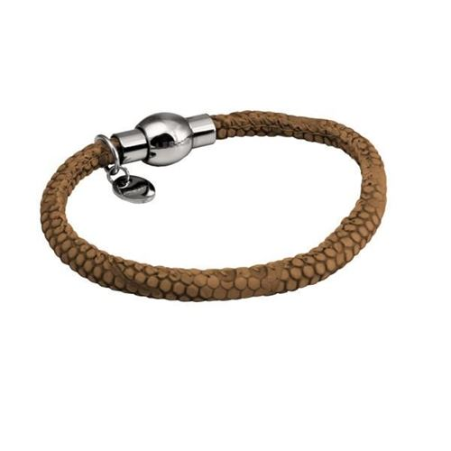 Picture of PULSERA IMIT PIEL COBRA MARRON Y ACERO 316 L