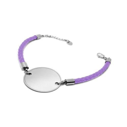 Picture of PULSERA SS 316L Y PIEL LILA, OVALADA 23 mm