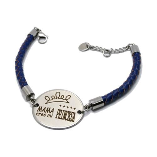 Picture of PULSERA SS 316L Y PIEL AZUL, OVALADA 30 mm