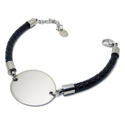 Picture of PULSERA SS 316L Y PIEL NEGRA, OVALADA 30 mm