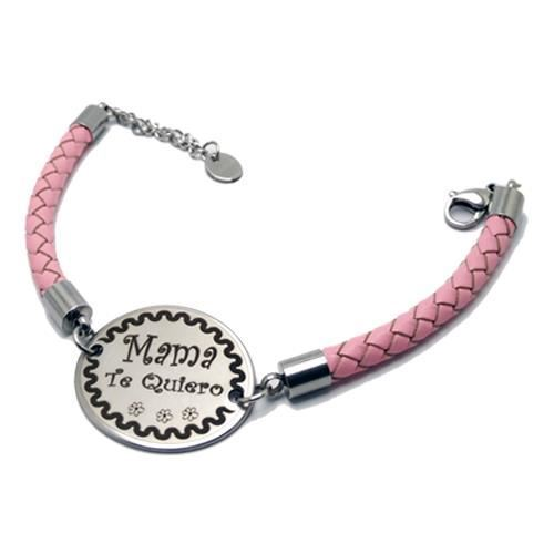 Picture of PULSERA SS 316L Y PIEL ROSA, OVALADA 30 mm
