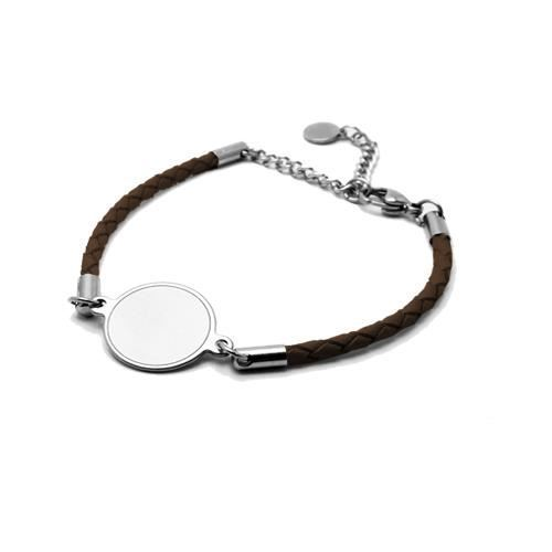 Picture of PULSERA SS 316L Y PIEL MARRON, REDONDA 18 mm