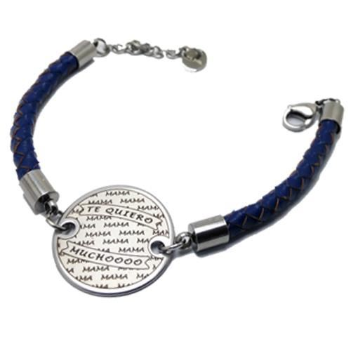 Picture of PULSERA SS 316L Y PIEL AZUL, REDONDA 25 mm