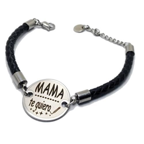 Picture of PULSERA SS 316L Y PIEL NEGRA, REDONDA 25 mm