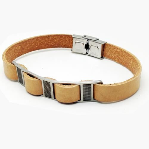 Picture of PULSERA SS 316L, PIEL NATURAL, 22,5 cm