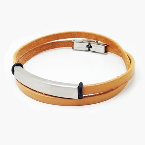 Picture of PULSERA SS 316L, PIEL NATURAL DOBLE VUELTA, 43 cm