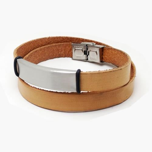 Picture of PULSERA SS 316L, PIEL NATURAL DOBLE VUELTA, 45 cm