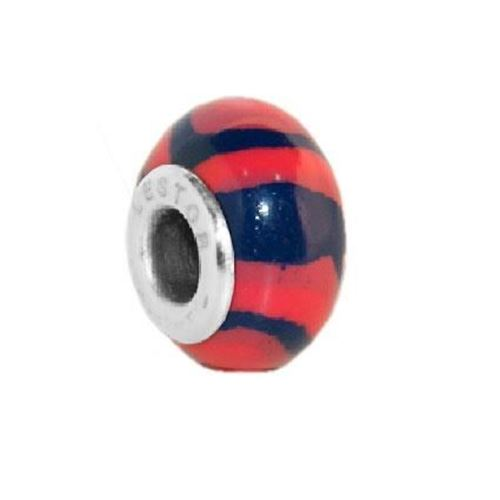 Picture of C29302/SFR.00 - BEAD ACERO 316 L Y POTTERY AZUL RAYAS FUCSIA