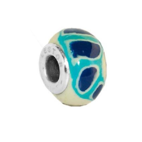 Picture of C29302/SAM.00 - BEAD ACERO 316 L Y POTTERY MANCHAS AZUL